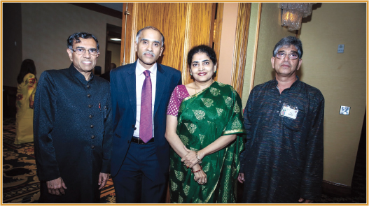 Indian Consul General Harish and his wife Nandita with IMAGH members Maqbool Haq (left) and Shahid Bilal. Photos: SMB Media Productions