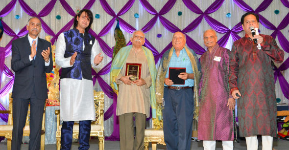 From left: Consul General Harish, Saurabh Raj Jain, Lifetime Achievement Awards recipients, Dr. S. G. Appan and Raj K. Syal, Sharad Amin, and event chair Partha Krishnaswami.