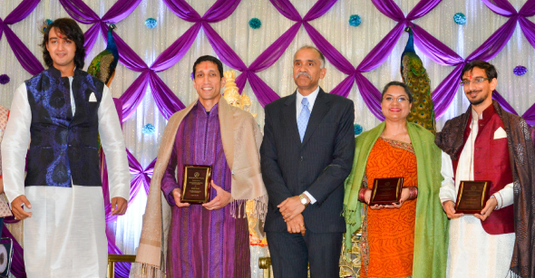 Akhil Chopra Memorial Award Winners: Dr. Rahul Pandit (second from left), Radha Dixit and Rishi Bhutada (extreme right) with Saurabh Raj Jain (extreme left), and Consul General Harish (center).