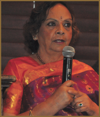 Featured speaker Leela Krishnamurthy spoke about the joy in giving freely to others.