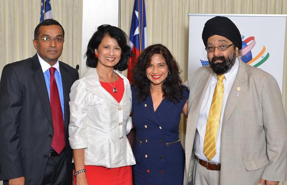 From left: Sanjay Ramabhadran, ALF President Dan Snare, Texas Secretary of State Nandita Berry, and Jagdip Ahluwalia.         Photos:Bijay Dixit