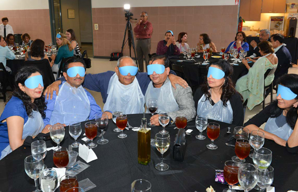 Guess who?! Guests with their masks on before starting dinner.