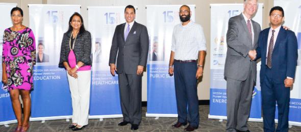 From Left: IACCGH Award Winners of 2014, Pallavi Dinesh, Sonal Bhuchar, Dr. Devinder Bhatia,  Judge R.K. Sandill, Gerry Morton, VP of Carrizo Oil & Gas Inc., Jayanta Sinha, President G.A.I.L Global USA