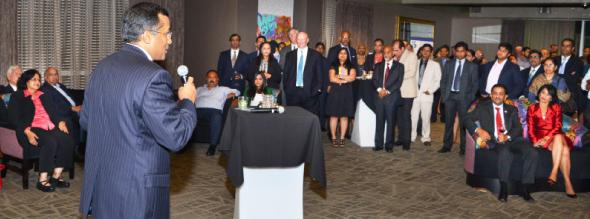 IACCGH President Sanjay Ramabhadran addressing the gathering at Mr. Peeples restaurant.