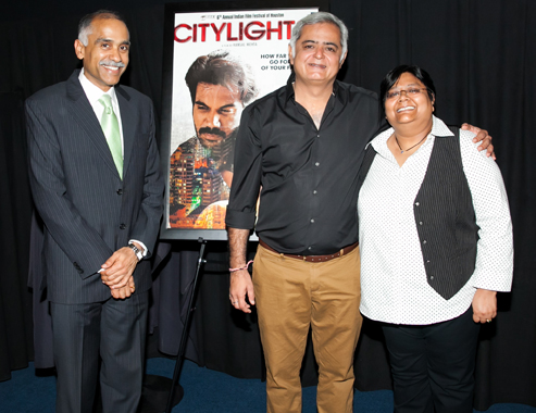 From Left: Consul General P. Harish, Director Hansal Mehta and Festival Director Sutapa Ghosh.