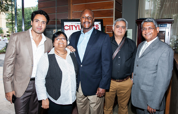 From Left: IFFH Board Member and Actor Mohammed Iqbal Khan, IFFH Festival Director Sutapa Ghosh, James Harris from HEB, Director Hansal mehta and IFFH Board President Amey Prakash.