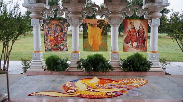 Rangoli outside temple