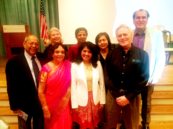 At the Habitat for Humanity's early morning Building a Dream Annual Breakfast on Wednesday, October 26, from left the Joint and Wall Sponsors Nat and Leela Krishnamurthy (a HFH Director) with Gaynell Dexler, Board Chair of Houston HFH behind them; Manisha Mehta, Farida Abjani, Rosmein Premji, guest speaker Jim Pate and Jawahar Malhotra.