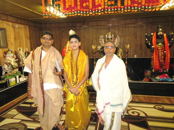 From left, Pt. Shridhar Kumar Sharma, the temple founder Udaya Kumar Gullapalli's son and Pt. Subbaraya Sharma in the temple sanctuary