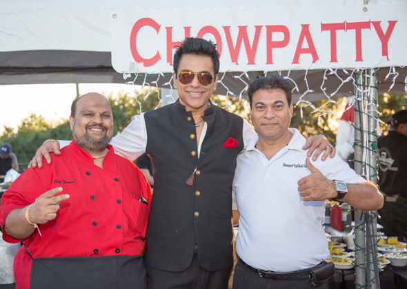 Chef Nirman Shah (in red chef coat) presented freshly prepared Mumbai Street Foods (picture on the right).  He is seen in picture above with Sunil Thakkar and Salim (missing in the piture is Samir from Chowpatty Express Katy)