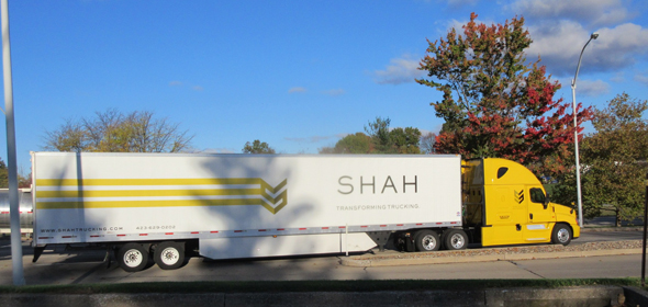 The Shah Trucking company's 18-wheeler at a rest stop in New Jersey on I-78
