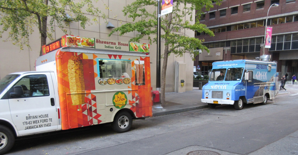 Indian food trucks and street stalls are common all over New York City