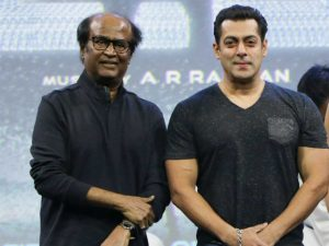 Rajinikanth and Salman Khan photographed together at the first look launch of 2.0