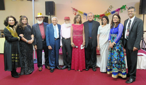 "The team that brought together the Club 65 New Year's party; from left, Rahat Kalle, Rosina Jaferali, Hatim Kanorwala, Kamuruddin Rahim, Tayeb ""kaka"" Shipchandler, Paru McGuire, Fateh Ali Chatur, Farida Jinnah and Dilkish and Saeed Pathan."