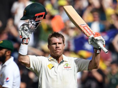 David Warner brought up his hundred off 78 balls with 17 fours. © AFP