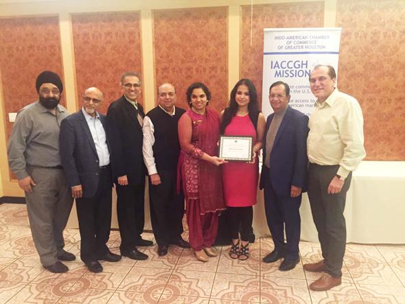 From left: Jagdip Ahluwalia, Aku Patel, Swapan Dhairyawan, Ashok Garg, Joya Shukla, Indo-American News partners, Vanshika Vipin Varma, Pramod Kulkarni, and Jawahar Malhotra.
