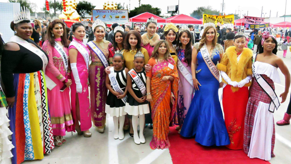 Sangeeta Dua with local area beauty queens at the festival at Boone and Bellaire.