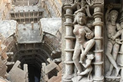 """Rani ki Vav"" (Queen's Stepwell) is a UNESCO heritage site near Patan. The multistory well was built in the 11th century. The sculptures at the well are preserved because the well was covered by silt, and therefore, hidden from Muslim invaders until discovery in 1963."