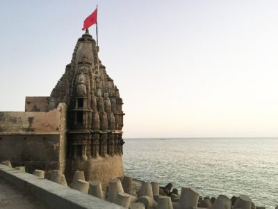One of the seaside temples in Dwarka. The main temple for Lord Krishna in Dwarka is besieged by vendors and long lines of worshippers.