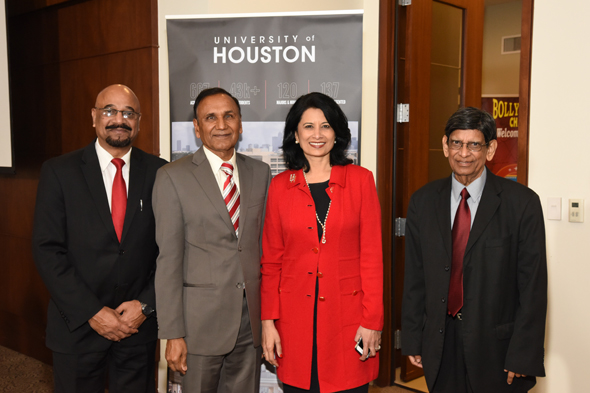 From left: Col. Vipin Kumar, Dr. Suresh Khator, Dr. Renu Khator, Nagraj Eleswarapu at India House on Monday, January 30. Photos: Bijay Dixit