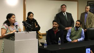 Sunayana Dumala, left, talks about her late husband, Srinivas Kuchibhotla, during a news conference at Garmin Headquarters in Olathe, Kansas.(AP Photo)