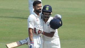 Virat Kohli and Wriddhiman Saha on the second day of India vs Bangladesh Test in Hyderabad on Friday.(AFP)