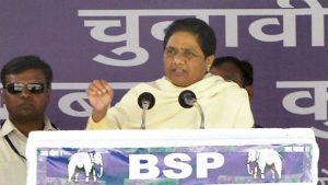Bahujan Samaj Party supremo Mayawati at an election rally in Deoria district on Saturday. (PTI Photo)