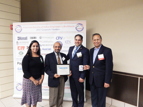 From left: The current Program Committee Chair, Board of Director, and an engineer with CP&Y, Archana Sharma, Mahesh Wadhwa, Architect and Owner of Wadhwa Associates and ASIE Life Member, Hon. Himesh Gandhi, the City of Sugar Land Councilman at Large, and also the attorney and shareholder of RMWBH law firm receiving a certificate of Appreciation, in presence of current ASIE President Dinesh Shah, President of BDC and Shah Companies.