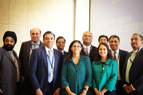Speakers for the inaugural Houston India Conference gather with conference organizers Jagdip Ahluwalia (left) and Jiten Agarwal (far right). The speakers are Ashok Malik (second from left), K. Nagraj Naidu, Subhash Chandra Garg, Nisha Biswal, Anupam Ray, Manjari Miller, Dhruva Jaishankar and Sadanand Dhume. Photos: Jessica Ngo, Asia Society Texas Center.