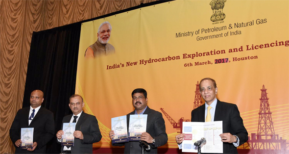 Indian officials join CERAWeek executive to launch the new HELP (Hydrocarbon Exploration & Licensing Policy) round. Holding up the HELP brochures are Anupam Ray, Counsul General of India in Houston (left), Atanu Chakraborty, Director General of Hydrocarbons; Dharmendra Pradhan, Minister of Petroleum & Natural Gas; and Atul Arya, Sr. Vice President, IHS. Photo: Bijay Dixit