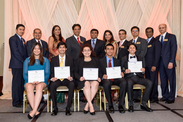 The five recipients of the 2017 IDA scholarships (front) pose with the sponsoring IDA physicians. The scholarships were based on academic achievement, extra-curricular activities and need. Photos: Bijay Dixit