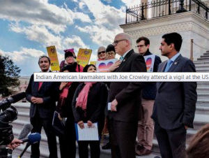 Indian American lawmakers with Joe Crowley attend a vigil at the US Capitol to honor victims of hate crime. (PTI photo)