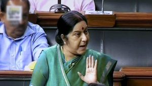 External affairs minister Sushma Swaraj speaks in the Lok Sabha in New Delhi.(PTI Photo)