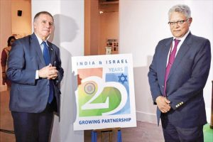 Economic relations secretary Amar Sinha (right) and lsrael's ambassador to India Daniel Carmon at the launch of a logo to mark 25 years of India-Israel diplomatic relations. Photo: PTI