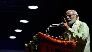 Prime Minister Narendra Modi addresses supporters at the party headquarters after the BJPseized a resounding victory in the UP and Uttrakhand Assembly elections, in New Delhi on March 12, 2017.(PTI)