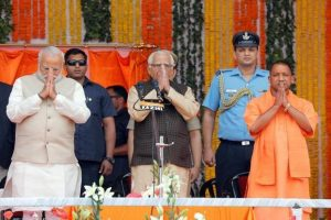 (From left) PM Narendra Modi, Uttar Pradesh governor Ram Naik and Uttar Pradesh chief minister Yogi Adityanath during the swearing-in ceremony in Lucknow on Sunday. Photo: AFP