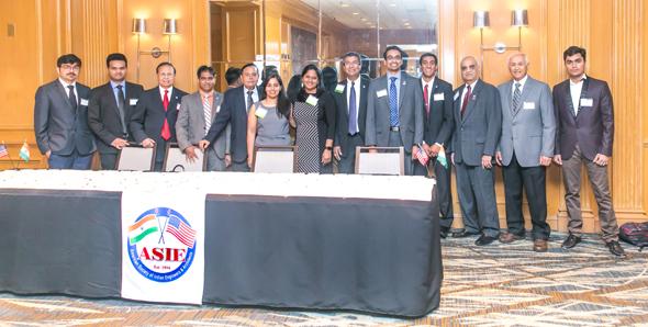ASIE May Event Program Committee Members with Student Volunteers. From left: Tanmay Thakker, Bhushan Patel, ASIE President Dinesh Shah, Naresh Kolli, Avinash Patel, Archana Sharma, Chaitanya Gampa, Madhu Kilambi, Raj Basavaraju, Rahul Kilambi, Chetan Vyas, Navin Mediwala, Karan Panchal