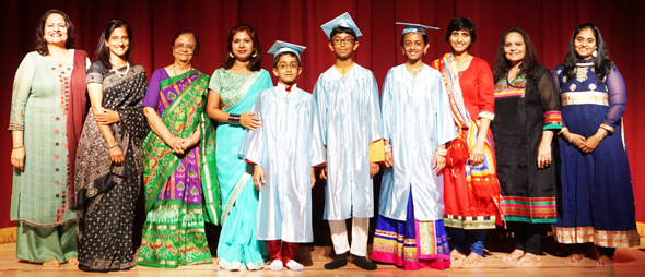 D.A.V. Montessori School's first batch of 5th grade students (center) with teachers and Chief Guest Roopal Shah (red outfit).