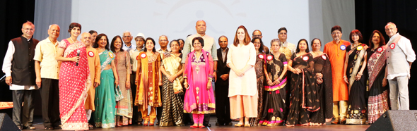 The EVF Houston Chapter Board and volunteers with Indian Consul General Anupam Ray and his wife Dr. Amit Goldberg Ray at the ceremonial lamp lighting.