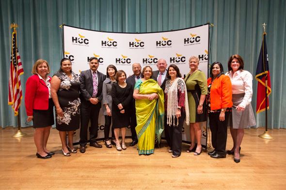 From left: Sheila Briones; Sarah Abraham; Dr. Muddassir Siddiqui, President, HCC Central Campus; Linda Toyota, HCC AVC for Communications; Ajanta Barua; Nat and Leela Krishnamurthy; HCC Chancellor Dr. Maldonado; HCC Trustee Neeta Sane; HCC Trustee Carolyn Evans-Shabazz; Dr, Ritu Raju and HCC Trustee Adriana Tamez.