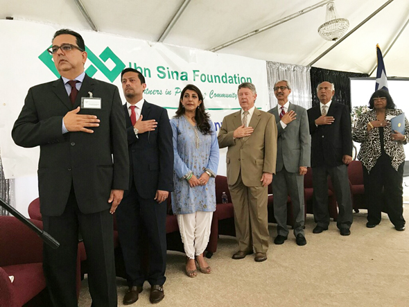 From right, State Rep. Dist. 131 Alma Allen; President of the PAGH, M.J. Khan; Chairman of the ISF, Nasruddin Rupani; Harris County Judge Ed Emmett; Consul General of Pakistan Aisha Farooqui; Murad Ajmani, President of the Ismaili Council for Southwestern US; Vice Chairman of the ISF, Ramzan Farishta.