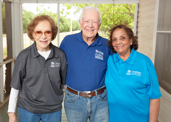 Leela Krishnamurthy meeting former President Jimmy Carter and his wife Rosalynn at an invitation only meeting in Plains, Georgia for those associated with the Habitat for Humanity.