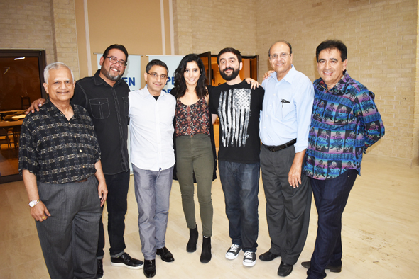 The three comics Raj Sharma (on left with beard), an Indian-American from California and Iranian-American comics, Melissa Shoshahi from Los Angeles and Bob Khosravi of Austin with the Open Forum hosts. Ricki Oberoi, a restauranteur and close friend of Sharma and the hosts is on the right.