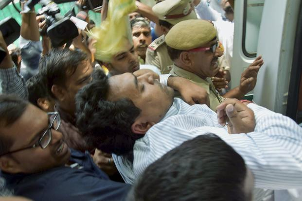 Kapil Mishra fainted at a media conference on Sunday, but not before he levelled 'massive' corruption charges against CM Arvind Kejriwal and the Aam Aadmi Party (AAP). Photo: PTI