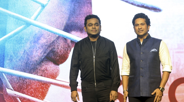 Indian cricket legend Sachin Tendulkar, right, poses with music composer A.R. Rahman during the song launch of his biographical film ' Sachin: A Billion Dreams'  in Mumbai, India, Tuesday, May 9, 2017. (AP Photo/Rajanish Kakade)