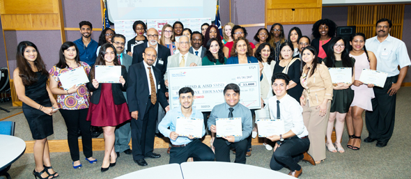 Scholarship Recipients with IACF 2017 scholarship committee and emcee's Saiesh Kalva and Jhanvi Jain.