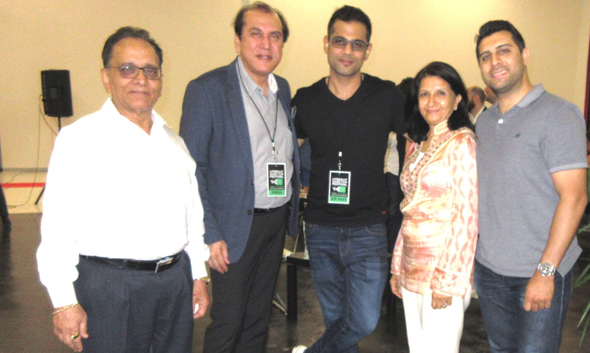 At the Literally Short Film Festival, prior to the screening of the top three films, Grand Jury Prize winner Anuj Gulati (center) met with from left, Raj Sehgal, Jawahar Malhotra, Poonam Sehgal and Kavish Sehgal of Sehgal Diamonds.
