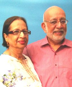 Asghar Ali Alibhoy with his wife of 47 years, Yasmin
