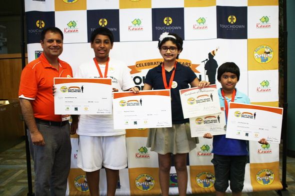 From left: Rahul Walia Founder of South Asian Spelling Bee; Agranya Ketha (secondrunner up), Sujata Choudhury (regional champion) and Abhilash Patel (firstrunner up).