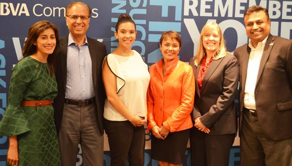 Panelists from left: Aruna Viswanathan, panelist; Dr. Arun Pasrija - TiE Houston President; Ana Rojas Bastidas, TiE Houston Executive Director; Samina Farid, panelist, Dr. Sara Terheggen, moderator; and Ashish Gupta, panelist.